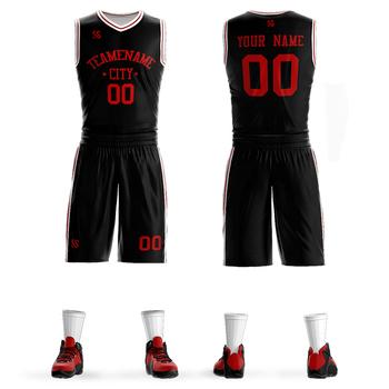 Tanie mężczyźni koszykówka zestaw mundury zestawy ubrania sportowe dla dzieci koszulki koszykarskie college dresy DIY dostosowane tanie i dobre opinie SUFEITE Bez rękawów Poliester Szybkie suche Pasuje prawda na wymiar weź swój normalny rozmiar JERSEY L18050031