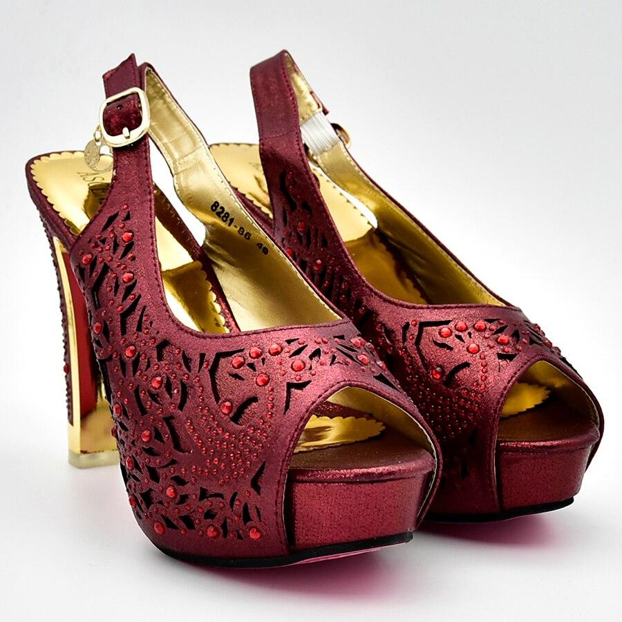 Assortis Assorties De Dans 4 Italien Femmes Arrivée 2 Avec Dames Partie 3 1 Ensemble Les Sacs Décoré Chaussures Africain Nouvelle Strass Et 64tfv