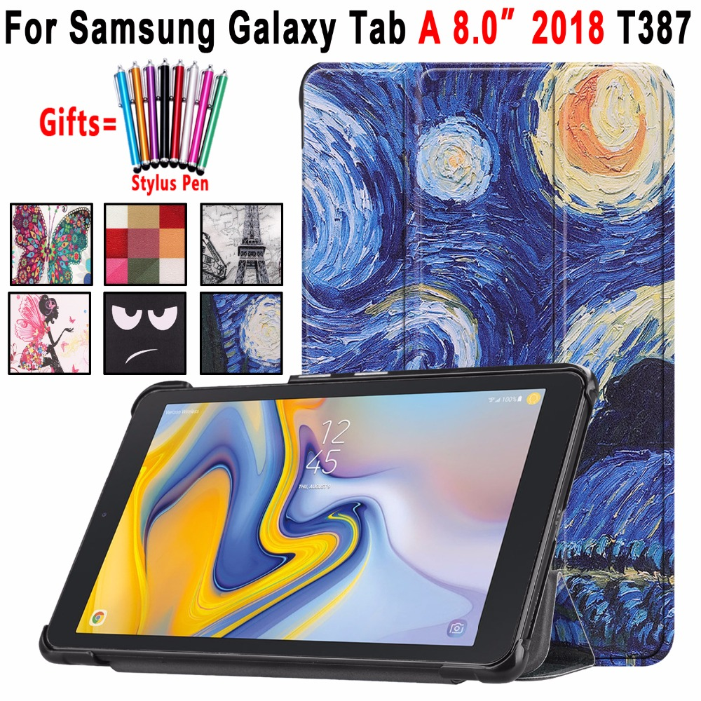 Case For Samsung Galaxy Tab A 8.0 2018 T387 SM-T387 Slim Magnetic Print Leather Foldable Cover Coque Funda Shell+Stylus Pen