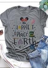 Nuevo el lugar más feliz de la tierra mujeres cuello redondo Camisetas Mujer moda Punk letra imprimir mujer camiseta suelta