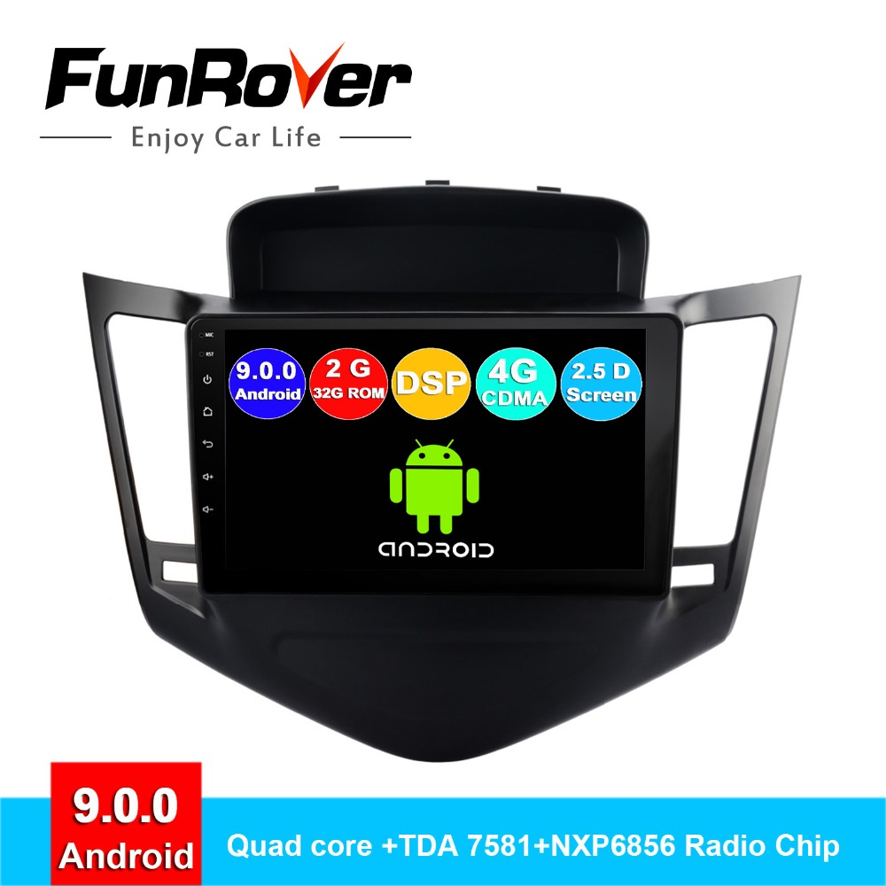 Lecteur multimédia d'autoradio FUNROVER 2 din android 9.0 pour Chevrolet Cruze 2009-2014 dvd gps navigation navi autoradio DSP 2.5D