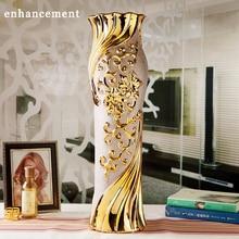 European Modern Fashion Ceramic Floor Vase Decorative Ground Vases Home Decoration Modern Wedding Decoration Gold Flower Vase