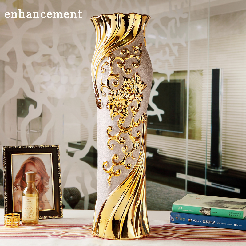 european modern fashion ceramic floor vase decorative ground vases home decoration modern wedding decoration gold flower - Decorative Floor Vases