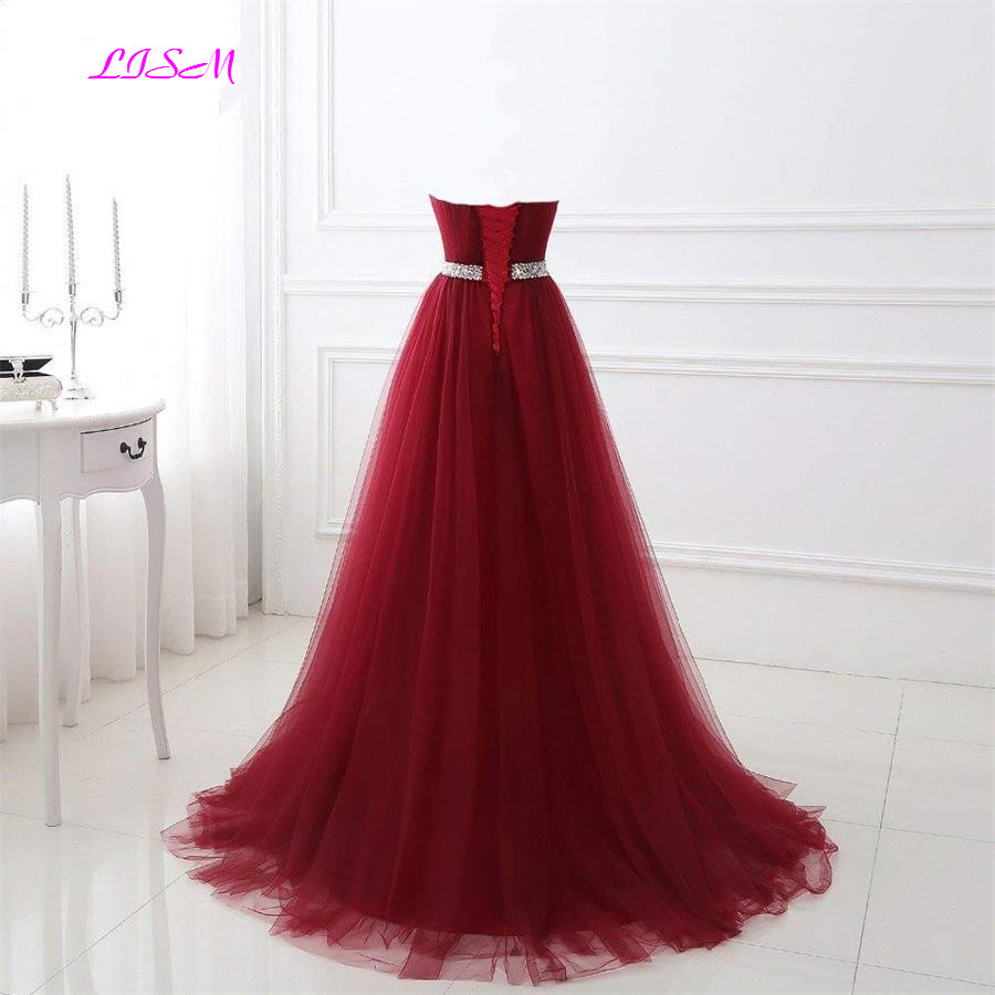 Real Photo Sweetheart Tulle Long Prom Dresses Empire Waist Beaded Sash Bridesmaid Dress Ruched Sweep Train Formal Gowns vestidos