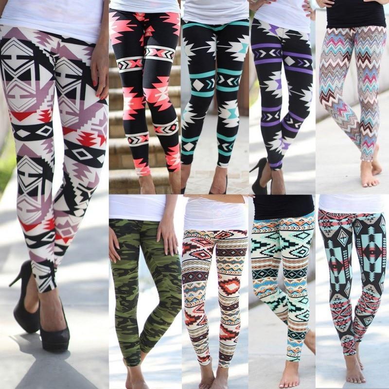 Vintage Women Plus Size Tribal Aztec Print Leggings Multi Color ...