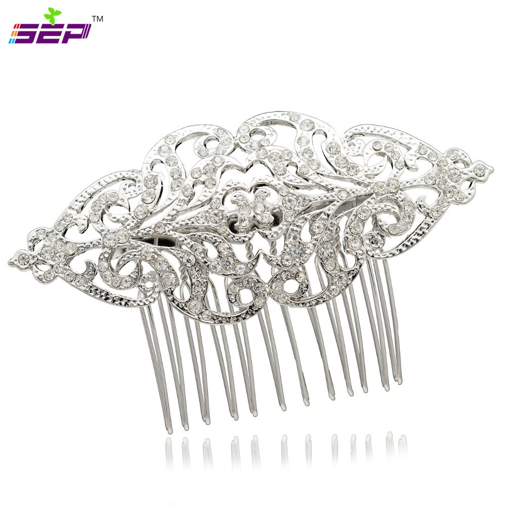 Silver Plated Wedding Bridal Rhinestone Crystals Flower Hair Combs Hairpins Jewelry Accessories Coxby104 - SEP store