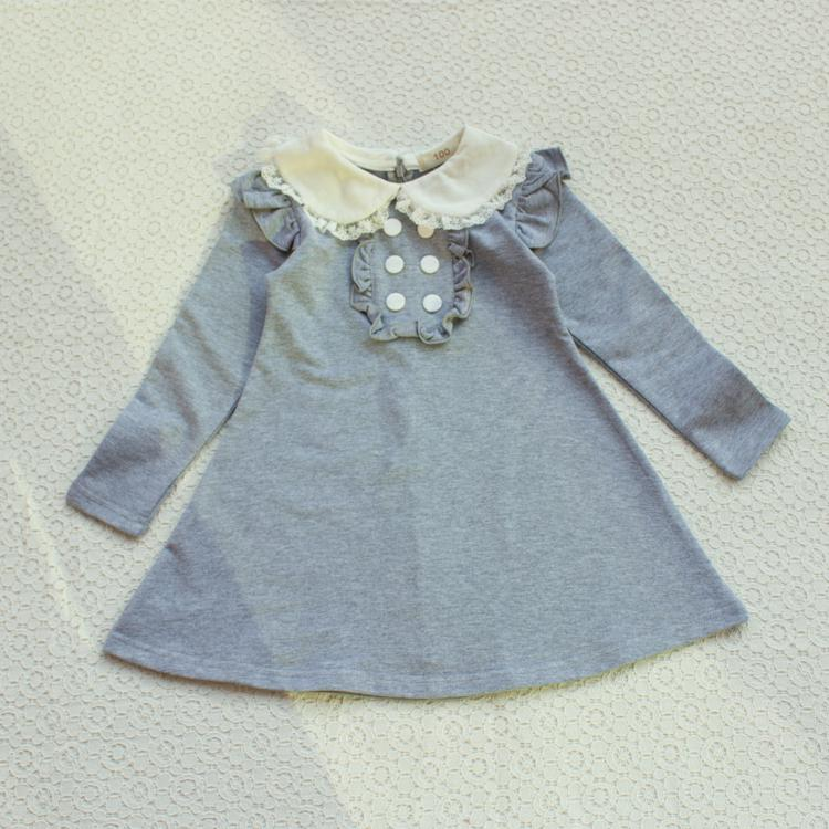 HTB15PmDLpXXXXaxXXXXq6xXFXXXn - 2017 spring autumn new arrival cotton girl korean clothes doll collar long sleeved casual girls A-line mini dress kids clothing