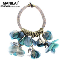 MANILAI Big Flower Chokers Necklaces for Women Fashion Crystal Beads Statement Pendant Necklace Wedding Party Jewelry