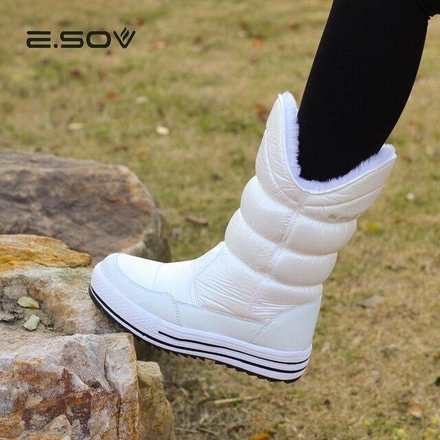 ESOV kadın Kar Botları 2018 Kış Kalın Peluş Orta buzağı Çizme Ayakkabı Kadın Kar Botları Kadın su geçirmez kauçuk Taban kış botu