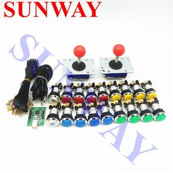 DIY Arcade cabinet Parts Bundles Kit Joystick CHROME Plated illuminated 12V Push button PC PS3 Arcade USB controller Jamma MAME