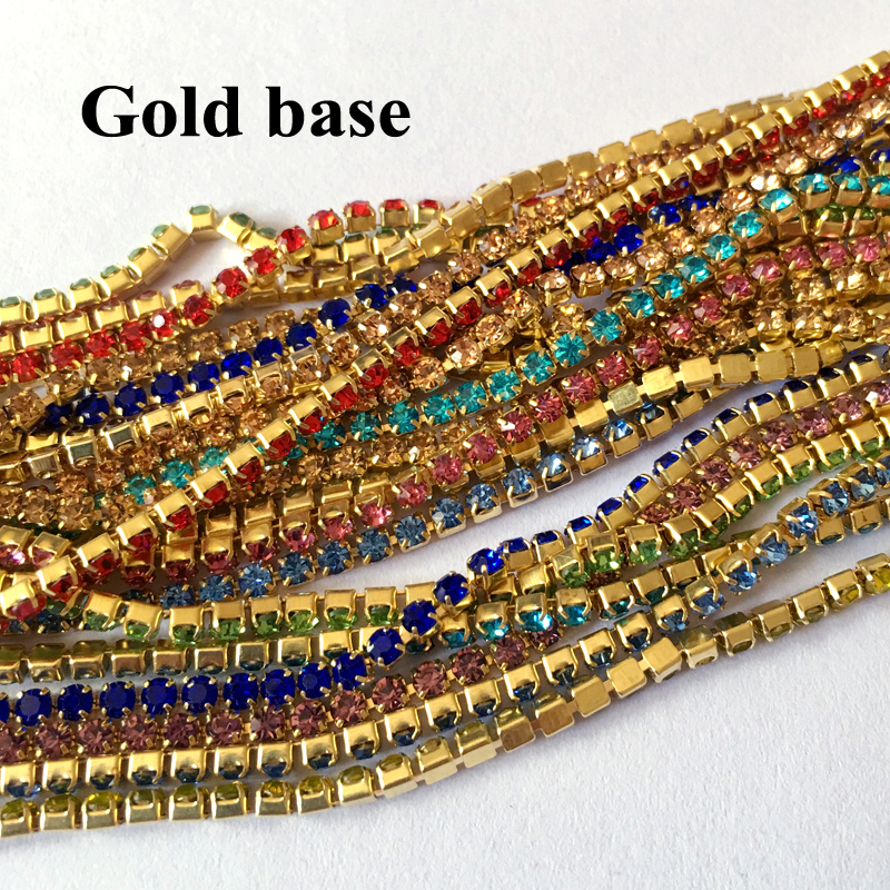 Free shipping Rhinestone Chain Gold Silver claw 10 Colors Mix color Sew on  Cup chain for clothing ornament accessories-in Rhinestones from Home    Garden on ... 0f5e0bbee3d5