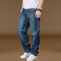 Korean Fashion Cotton Soft Straight Denim Jeans For Men Black Dark Blue Stylish Loose Trouser Jeans