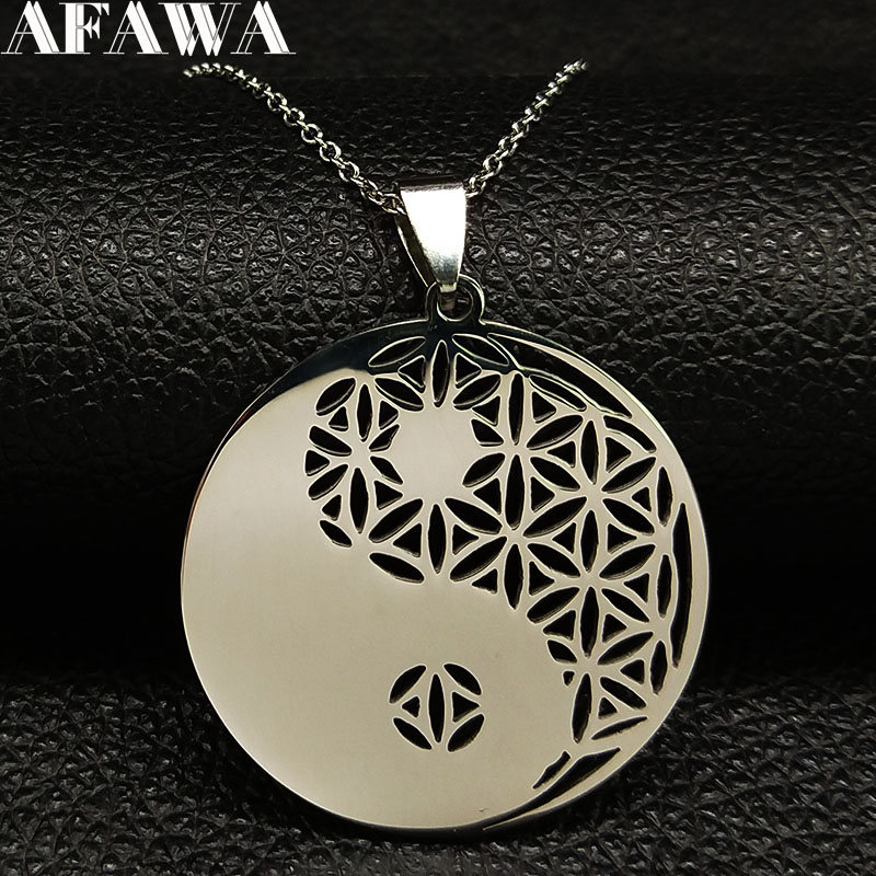 2019 Yin Yang Flower of Life Stainless Steel Long Necklace f…