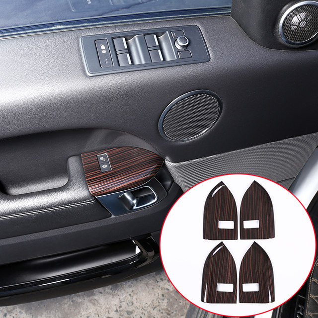 US $40 47 12% OFF|4pcs Red Ash Wood Style ABS Plastic Child lock button  Frame Tim Accessories For Landrover Range Rover Sport RR Sport 2014 2018-in