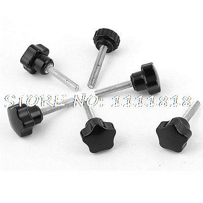 6 Pieces 6mm Thread 22mm Star Head Straight Knurled Grip Knob Black серьги modis серьги