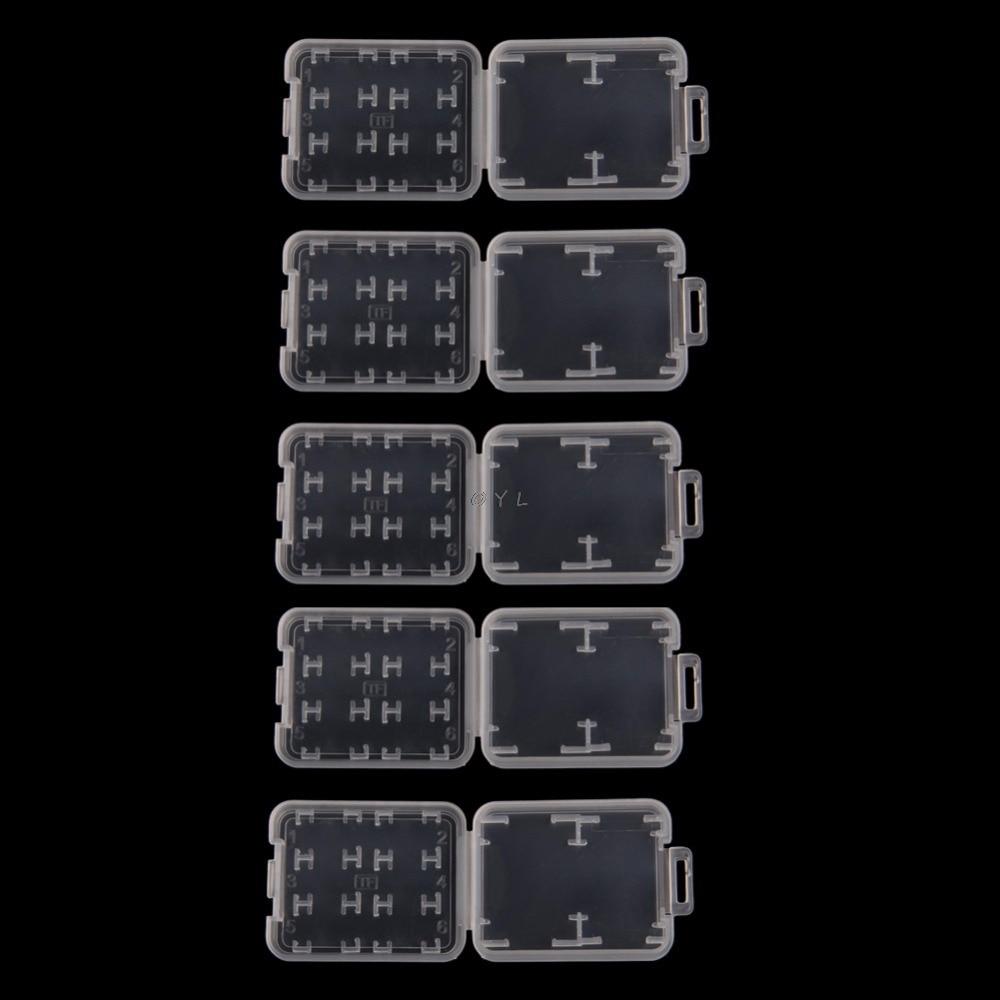 5PCS 8 In 1 Plastic Transparent Standard SD SDHC Memory Card Case Holder Box Storage
