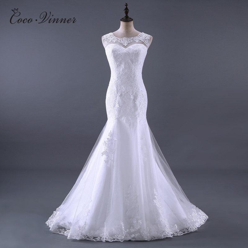 New Arrival 2019 Mermaid Wedding Dresses V Shape Backless Lace Emboridry Appliques Vintage Wedding Dress Bridal Gown W0011
