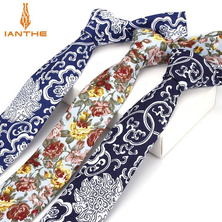 100% Cotton Tie Flower Print Necktie Men Fashion Classical 6cm Slim Skinny Ties Flowers Wedding Party Business Necktie Bowtie