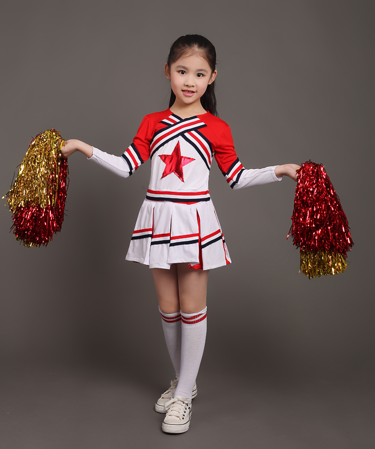 Barn Prestanda Kläder Flicka Cheerleading Dans Klänning Cheerleader Dance Custome Ingen Pom Pom Dropshipping