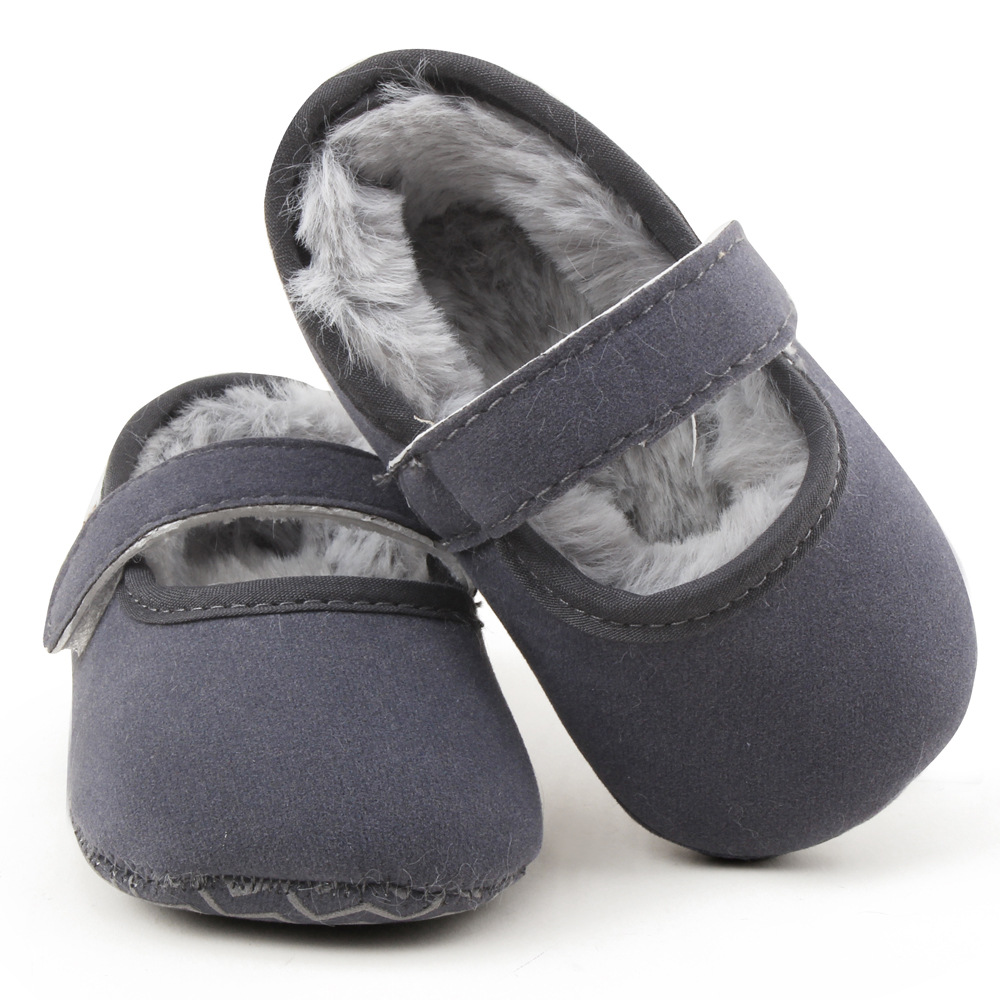 Fleece Lined Baby Shoes Solid Winter Warm With Fur Suede