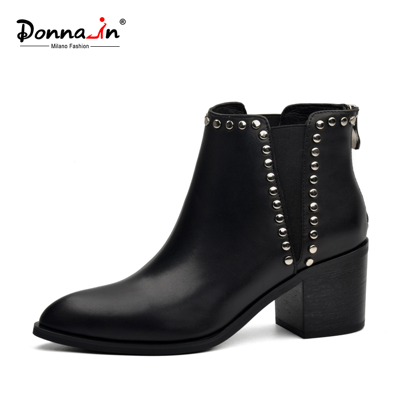 Donna in 2019 Spring Women Genuine Leather Chelsea Boots Thick High Heels Ankle Booties Fashion Rivet