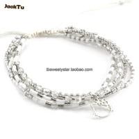 2017 JACK TU argent perles de rocaille mixte cristal kitty chat nylon wrap bracelet nouvelle année cadeau bijoux