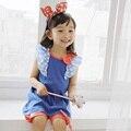 Meninas de verão Vestidos de Algodão Casual Crianças Roupas Fly-Manga Sólida Roupas de Bebê Para Meninas Crianças Vestido de Uma Linha