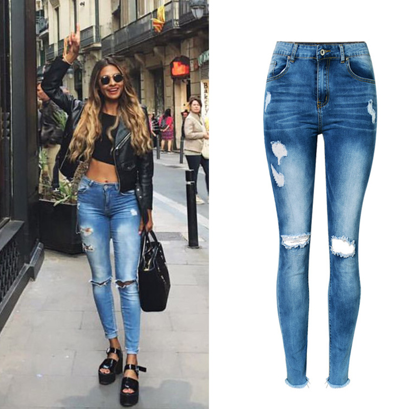 2017 Woman Jeans High Waist Jeans Stretch Denim Slim Nine Pants Ripped Jeans For Women Irregular Hole Sexy Boyfriend Jeans Femme summer boyfriend jeans for women hole ripped white lace flowers denim pants low waist mujer vintage skinny stretch jeans female