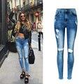 2017 calças de Brim da Mulher de Cintura Alta Calça Jeans Denim Stretch Magro Nove calças Jeans Rasgado Para As Mulheres Calça Jeans Boyfriend Buraco Irregular Sexy Femme