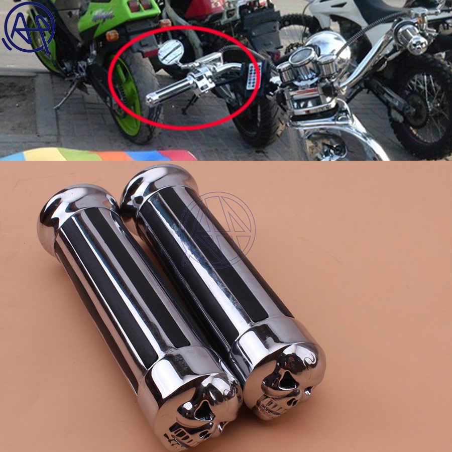Chrome 1 inch Motorcycle Handlebar Handle Grips for Honda Yamaha Suzuki Kawasaki