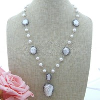 N072907 23'' White Coin Pearl Necklace Keshi Pearl Pendant
