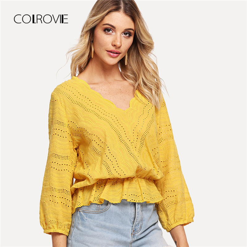 COLROVIE Yellow V Neck Embroidery Peplum Ruffle Hollow Out Highstreet Women   Blouse     Shirt   2018 Autumn Sexy   Blouse   And Tops