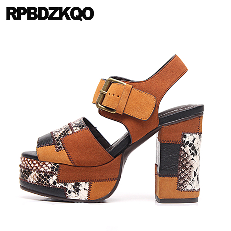 0a991d3df3cfa Detail Feedback Questions about Genuine Leather Snake Slingback Peep Toe  Block Brown Pumps Strap Women Shoes High Heels Wedge Sandals Platform Thick  Fetish ...