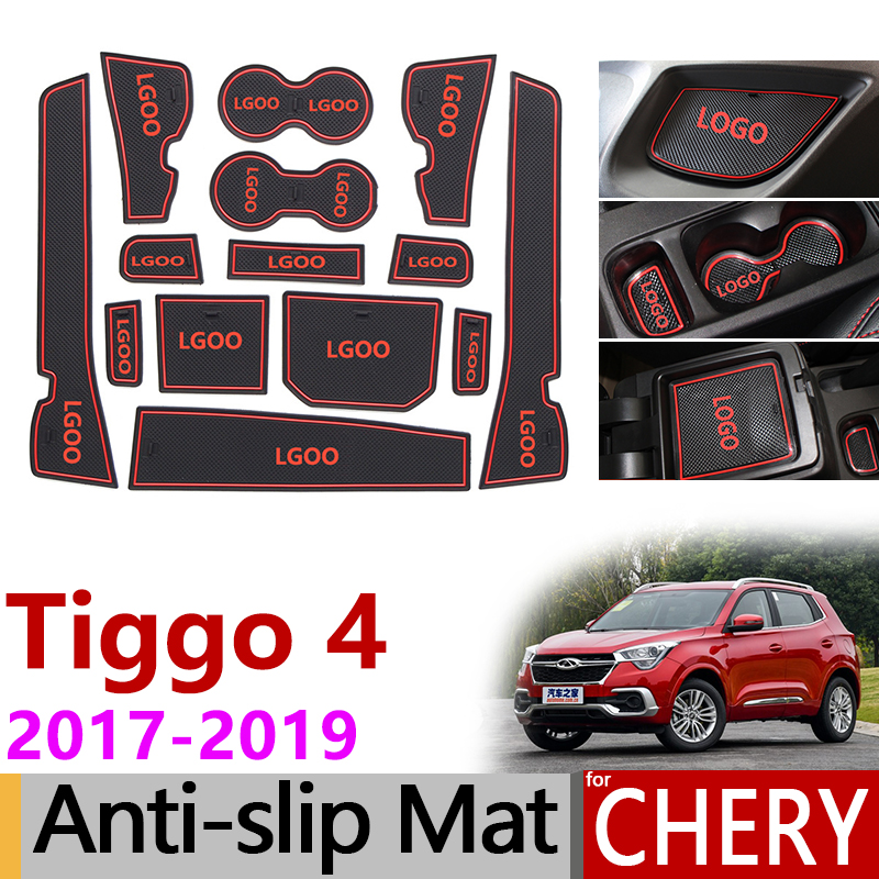 Anti-Slip Gate Slot Mat Rubber Coaster For Chery Tiggo 4 2017 2018 2019 Tiggo4 Tiggo 5x Accessories Car Stickers 14Pcs Red/White