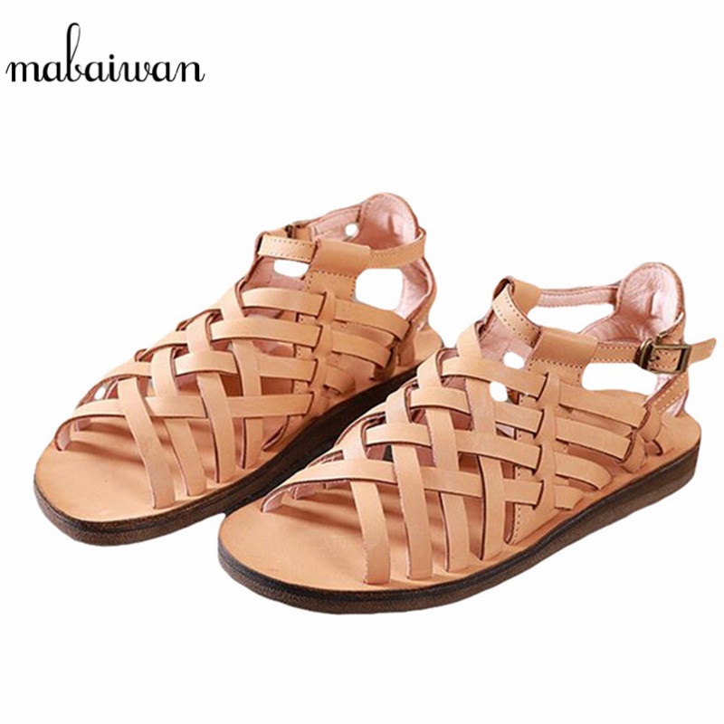 Mabaiwan Brown Women Shoes Cow Leather Summer Beach Sandals Casual Female Slipper Shoes Woman Bohemia Gladiator Hollow Out Flats italian classic mens summer gladiator beach sandals ankle buckle weave hollow out cow real leather shoes large size casual shoes