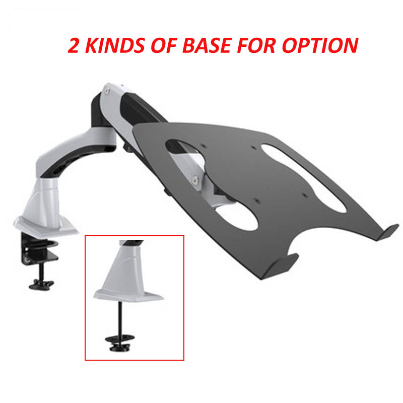 tilt full motion aluminum air press gas spring dual arm lcd desktop Mount swivel monitor table stand clamp with notebook tray цена