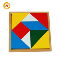 Wooden Puzzle Montessori Games Children Colorful Geometric Kids Educational 3d Puzzle Teaching Math Toys Jigsaw Tangram MA029