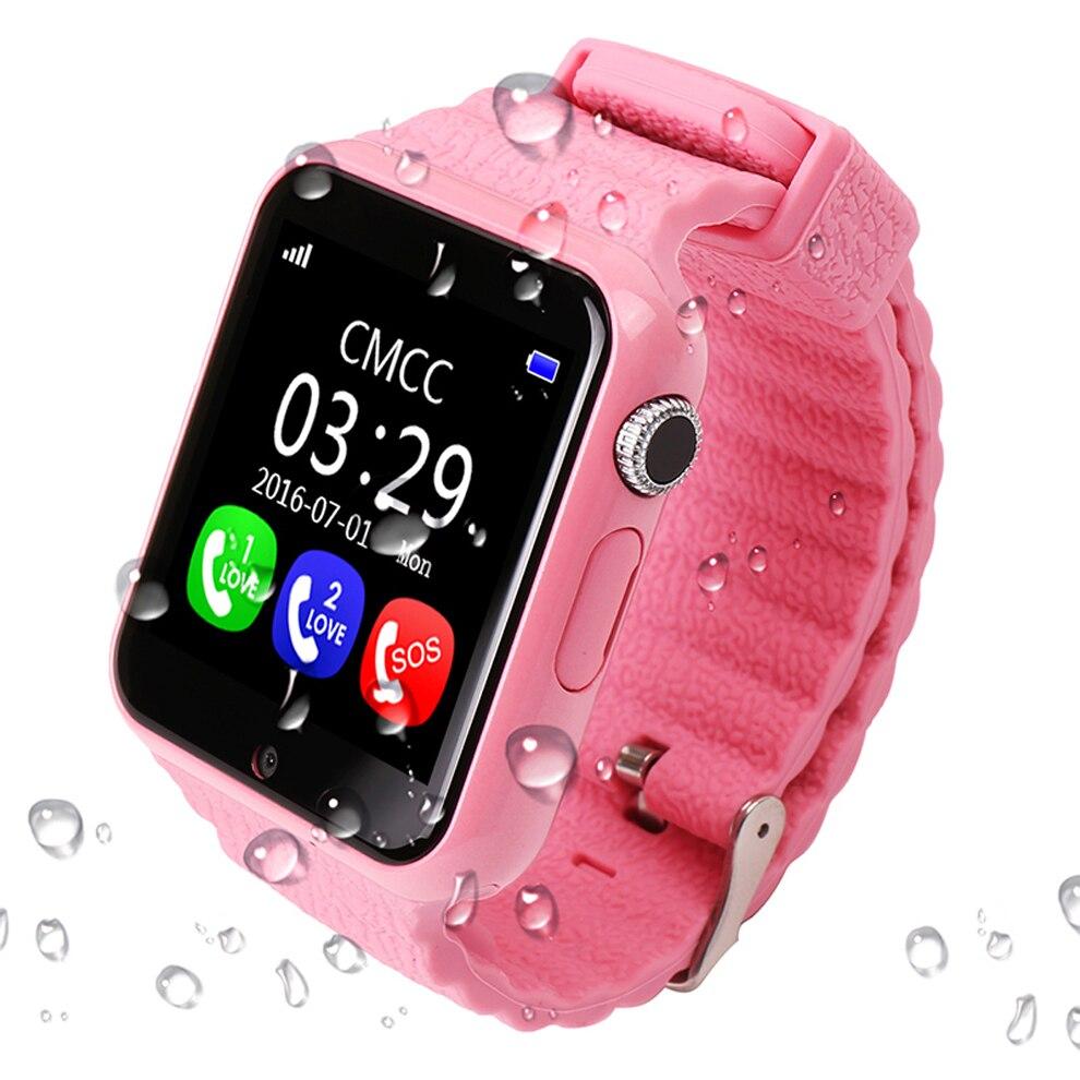 Espanson V7 Niños GPS Reloj Inteligente Con Cámara Facebook SOS de Emergencia de Seguridad Anti-Perdido Para ISO Android impermeable Reloj