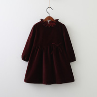 Everweekend Kids Girls Solid Green Red Color Bow Dress Velvet Korean Western Fashion Children Dress Clothing