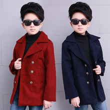 2016 Winter kid boys long type woolen jacket children cotton double-breasted clothing jacket