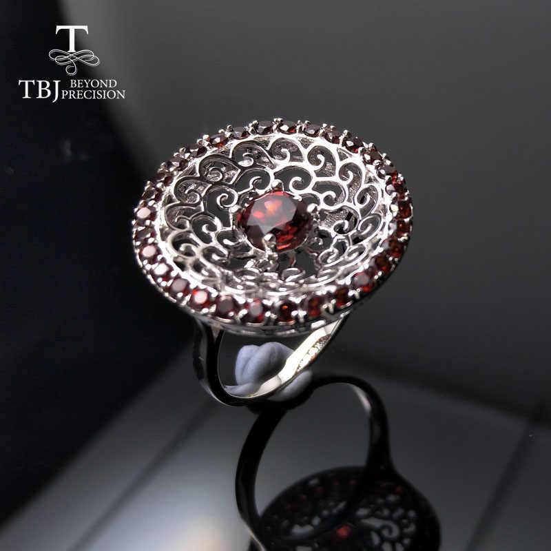Tbj, 2017 stylish โมซัมบิกพลอยสีแดง Garnet แหวน 925 เงินสเตอร์ลิงเครื่องประดับ fine สำหรับ lady party เครื่องประดับกล่อง