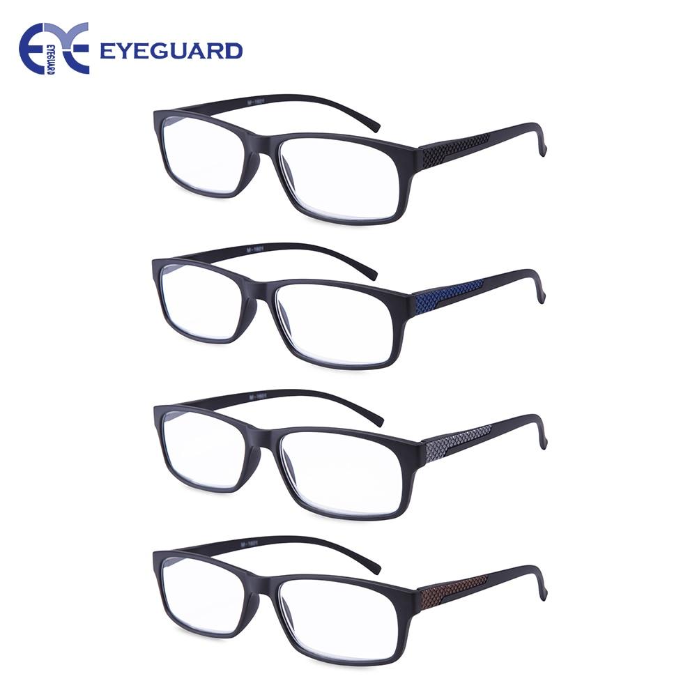 Reading Glasses Readers Spring Hinge Rectangular Sports Men 4 pairs//Pack M-1601