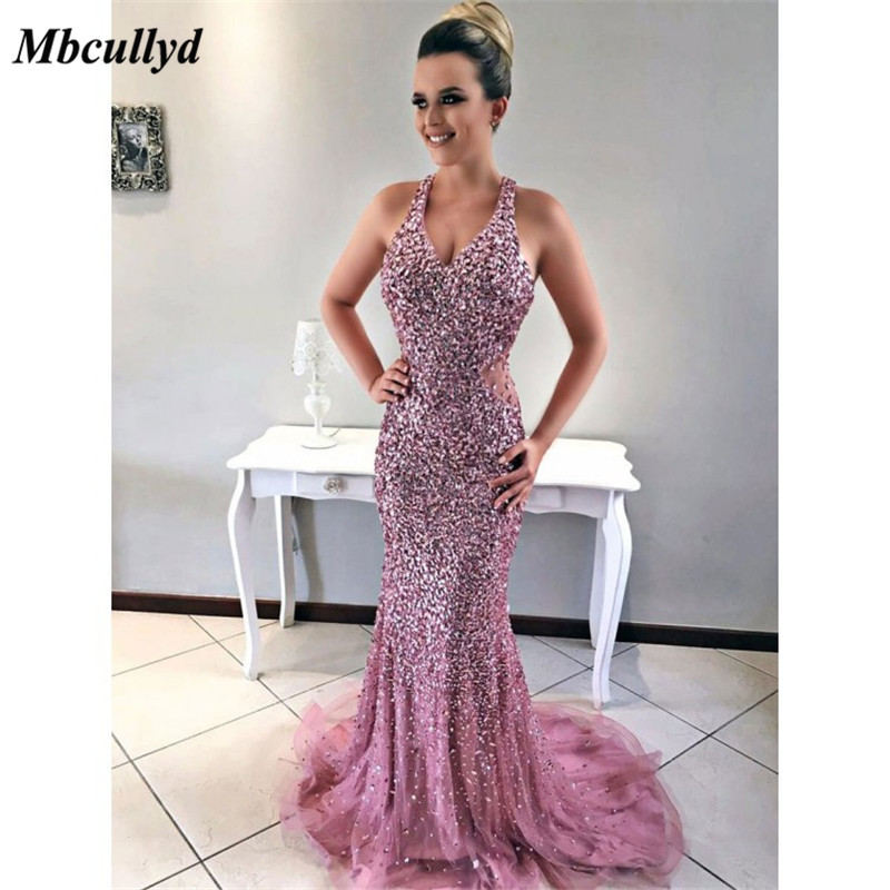 Mbcullyd Beaded Crystal Mermaid   Prom     Dresses   2019 vestido de fiesta Sexy Off Shoulder Formal Evening Gown Special Occasion   Dress