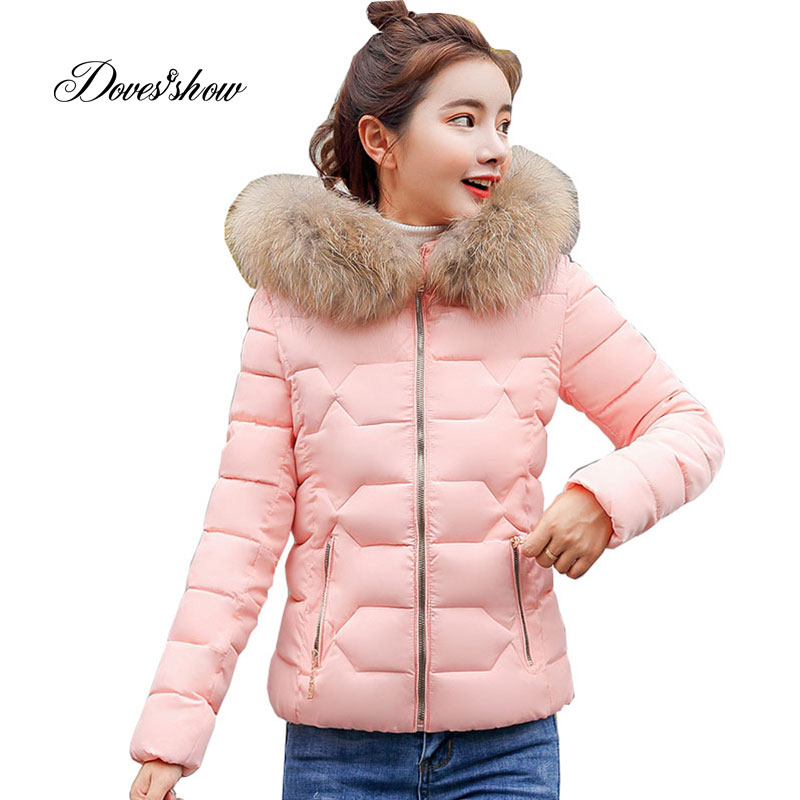 New Hooded Fur Collar Winter   Down     Coat   Jacket Short Thick Warm Slim Women Casaco Feminino Abrigos Mujer Invierno 2018 Parkas