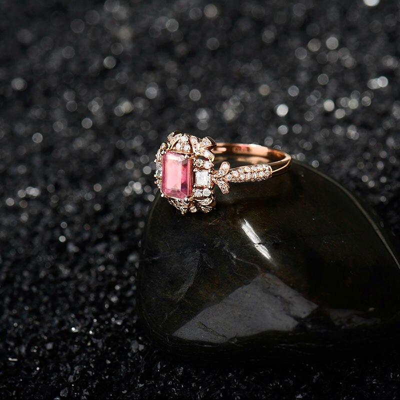 Nieuwste Arrivals Engagement Emerald Cut 5x7mm 18Kt Rose Gold Natuurlijke Diamant Roze Toermalijn Ring Sieraden Loving Gift voor Vrouwen-in Ringen van Sieraden & accessoires op  Groep 3