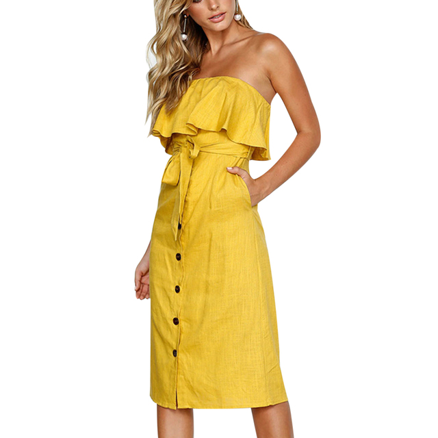 47d045e3d0f6 2018 Summer Women Vintage Sexy Off Shoulder Blue Dresses Ruffles Strapless  Ladies Midi Dress Yellow Tie Bow Button Vestidos