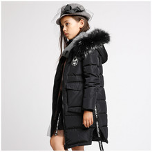 2016 boy and Girls Down Jacket Winter Long Jackets large size kids Outerwear Coats fur Collar Solid Pockets Thick Warm Overcoat