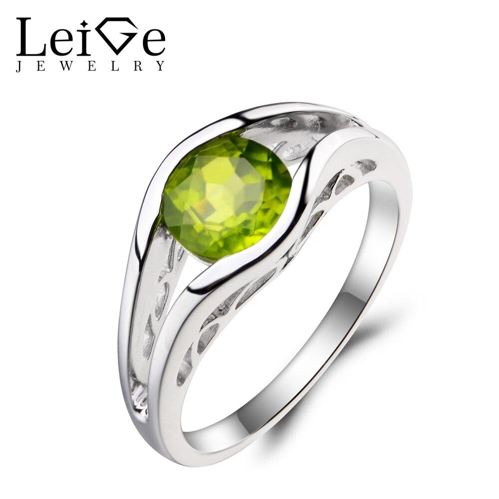 купить Leige Jewelry Natural Peridot Ring Anniversary Ring Round Cut Green Gemstone August Birthstone 925 Sterling Silver Ring for Her по цене 6663.76 рублей