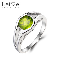Leige Jewelry Natural Peridot Ring Anniversary Ring Round Cut Green Gemstone August Birthstone 925 Sterling Silver Ring for Her