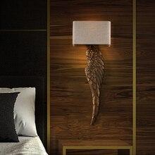 Lámpara led e27 estilo americano Vintage de hierro y madera con diseño de ala de Ángel, lámpara LED de pared, aplique de pared para dormitorio